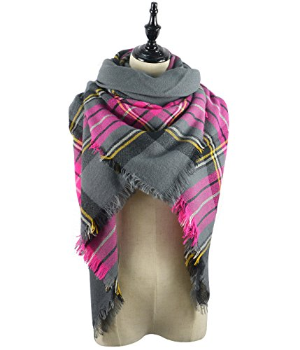 Price comparison product image American Trends Fashion Soft Women Scarf Shawl Wraps Tartan Pashminas with Fringes Rose Red