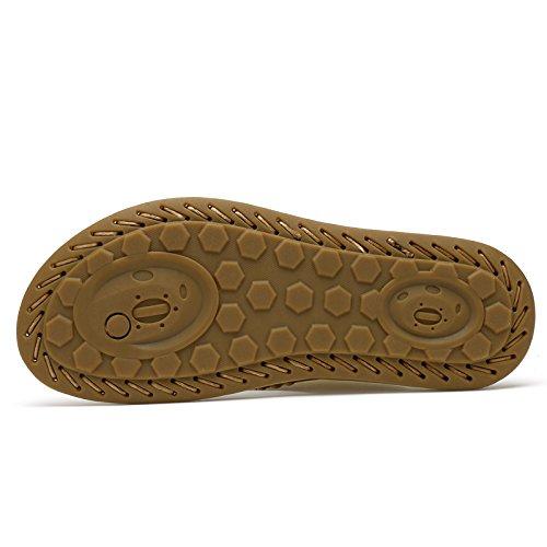 Abby Qzyyu-1006-8 Nya Mens Stil Koncis Fritid Andas Vacker Platta Klassiska Övre Läder Flip Flops Charmiga Sandaler Rem Split Öppen Tå Gul