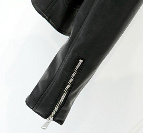 Cerniera Giacca Manica Donna Cappotto Giacche Turndown In Collare Lunga Moto Pelle A Pu Con Nero Da 4qxPaqFfw