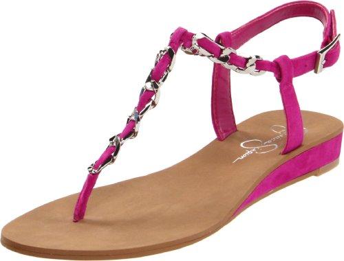 Jessica Simpson Women's Js-Joey T-Strap Sandal,Bermuda Pink Kid Suede,9 M US