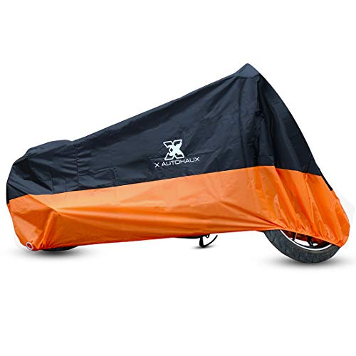 X AUTOHAUX XXL Black Orange Motorcycle Cover Outdoor Waterproof Rain Dust UV Protector ()