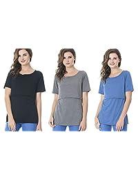 Bearsland Women's Maternity Nursing Tops Short Sleeve Breastfeeding Shirts