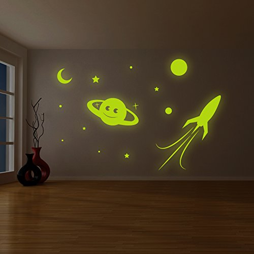 54' Wall (( 79'' x 54'' ) Glowing Vinyl Wall Decal Planet, Rocket, Stars / Glow in the Dark Sticker / Сrescent Luminescent Mural Kids, Baby Room + Free Decal Gift!)