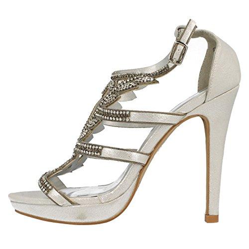 Anne Michelle Ladies Diamante Trim Party Heels Silver Ak3R9ES