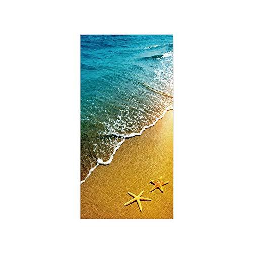 - Decorative Privacy Window Film/Tropical Island Beach Caribbean Atlantic Ocean Scenery Artwork Print/No-Glue Self Static Cling for Home Bedroom Bathroom Kitchen Office Decor Pale Blue and Marigold