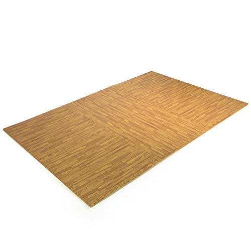 9TRADING 24 Sq Ft Interlocking EVA Foam Floor Mat Puzzle Tiles Wood Grain Gym Exercise