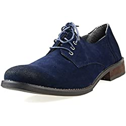 O-NINE Mens Loafer Casual Shoes Dress Drving Laceup Shoes Navy Suede 47 EU (US Men's 13 M)