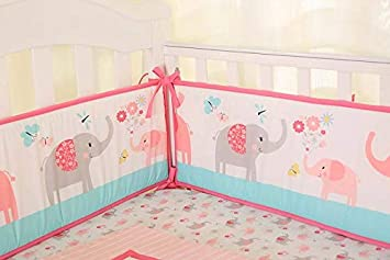 Crib Bumper Pads Baby Girl Nursery Bedding Breathable Pink 4 Piece Gift New