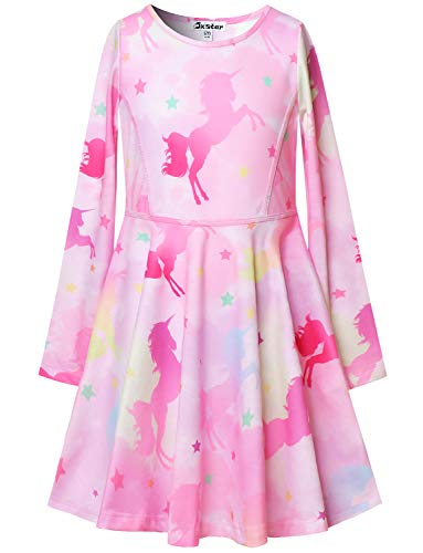 Girl Dresses Unicorn Outfits Gold Cloud Star Dress Long Sleeve Cotton 7-16 Fall