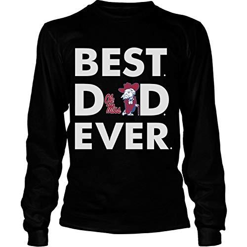 Best Ole Miss Rebels T Shirt, Best Dad Ever T Shirt - Long Sleeve Tees (XL, Black)
