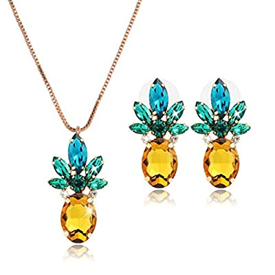 Holylove 2pcs Cute Yellow Pineapple Earrings Studs for Women Lady Jewelry Hawaiian Vacation Beach Party Daily with Gift Box
