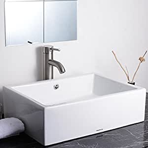 "Aquaterior Rectangle White Porcelain Ceramic Bathroom Sink w/ Free Chrome Drain and Overflow for Home Villa Resort Hotel Restaurant Size: 20-2/7""x14-1/4""x6"""