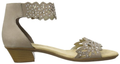 Sandal Women's Rieker 64 Beige Leather Ankle 68396 g6RpRfwq