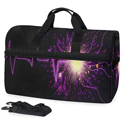 Duffle Bag Sound Wave Gym Bag with Shoe Compartment Sport Bag for Men Women