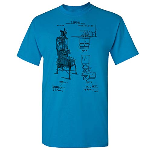 Peanut Roaster T-Shirt, Dry Roasting, Culinary Gifts, Candy Maker, Peanut Farmer, Concession Stand, Cafe Owner Sapphire (Medium)