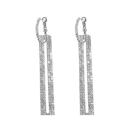 fublousRR5 Women's Dangle Earrings, Girls Hollow Rectangular Rhinestone Dangle Pendant Huggie Earrings Women Jewelry Accessory Gift Silver