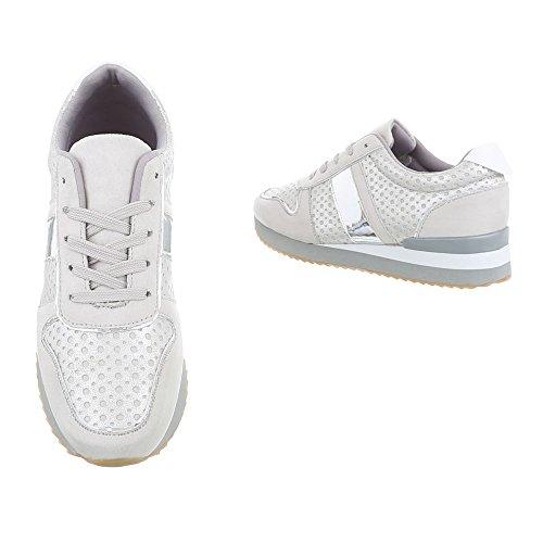 Chaussures femme Baskets mode Plat Sneakers Espadrilles low Ital-Design Gris Clair G-85 YNPgmt