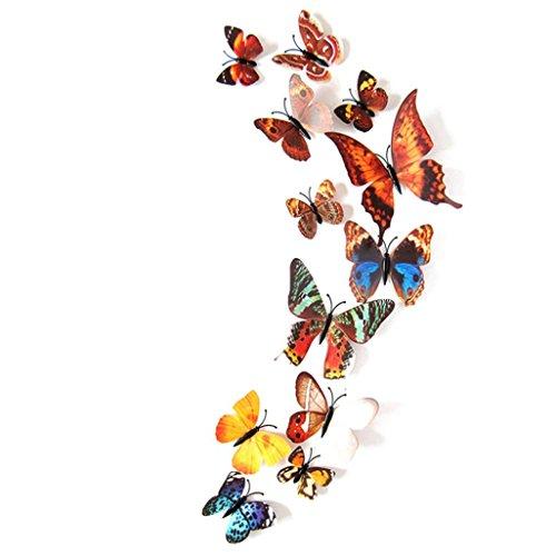 Clearance! Leyorie 12pcs Decal 3D Butterflies Wall Stickers Wall Art Home Decors Mural Charm Applique (Multicolor B)