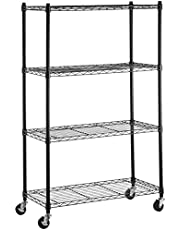 AmazonBasics 4-Shelf Shelving Storage Unit, Metal Organizer Wire Rack