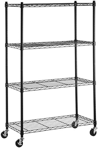 AmazonFundamentals 4-Shelf Shelving Storage Unit on 3'' Wheel Casters, Metal Organizer Wire Rack, Black (36L x 14W x 57.75H)