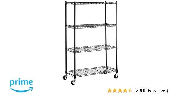 d635f3b3353b0 Amazon.com  AmazonBasics 4-Shelf Shelving Unit on 3   Casters