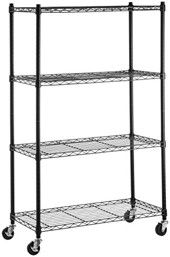 AmazonBasics 4-Shelf Shelving Storage Unit on 3'' Wheel Casters, Metal Organizer Wire Rack, Black (Metal Shelf Wheels)