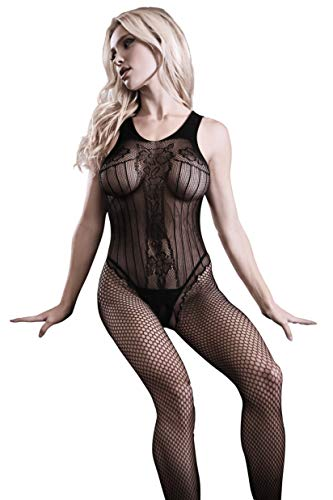 Fantasy Lingerie Black Diamond Fishnet Teddy Bodystocking, Black, One Size