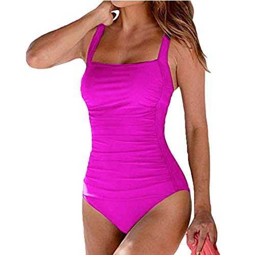 - angel3292 Swimsuit for Women,Solid Color One-Piece Swimsuits Monokini Summer Beach Swimwear Rose Red S