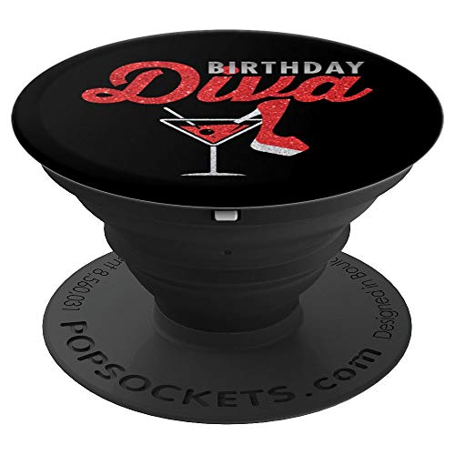 Diva Martini Glass - Birthday Diva Martini Glass Stiletto Birthday Gift - PopSockets Grip and Stand for Phones and Tablets