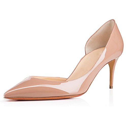 Femme ELASHE 6 Beige Classique Heel cm Pointu Ferm¨¦ Kitten Shoes Bout Escarpins Soiree Chaussures Bureau 5 rraqA5Rx