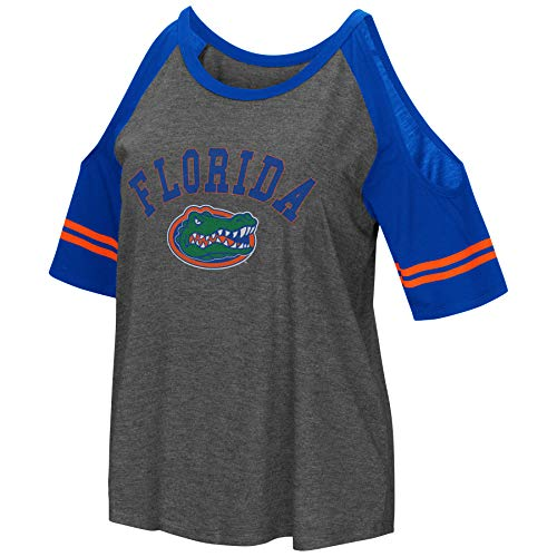 Florida Gators Ncaa Spring - Colosseum NCAA Women's Casual Cold Shoulder Short Sleeve T-Shirt-Heather Charcoal-Florida Gators-Medium
