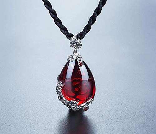 8Ninegift Retro Royal Red Garnet Gemstone 100% 925 Sterling Silver Natural Chalcedony Pendant Necklace Female Fine Jewelry