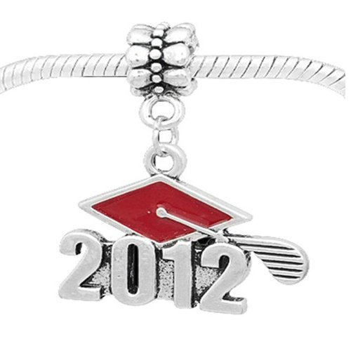 2012 Graduation Charm - Sexy Sparkles Class of 2012 Graduation Cap Dangle Charm Bead for Snake Chain Charm Bracelet