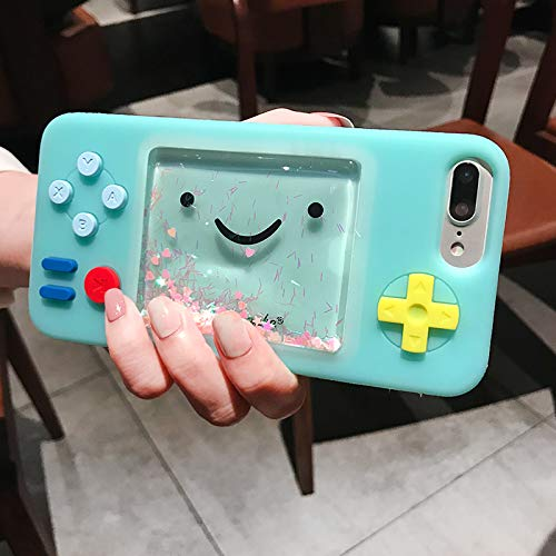 Soft Silicone Blue Glitter Liquid Flowing Game Console Case for iPhone 7+ 7Plus 8Plus Large Size 3D Cartoon Glittery Water Sparkling Cute Lovely Cool Fun Little Girls Teens Kids Boys Son