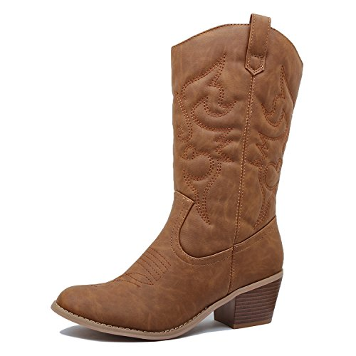 West Blvd - Womens Miami Cowboy Western Boots (8.5 B(M) US, Chestnut Pu) by West Blvd