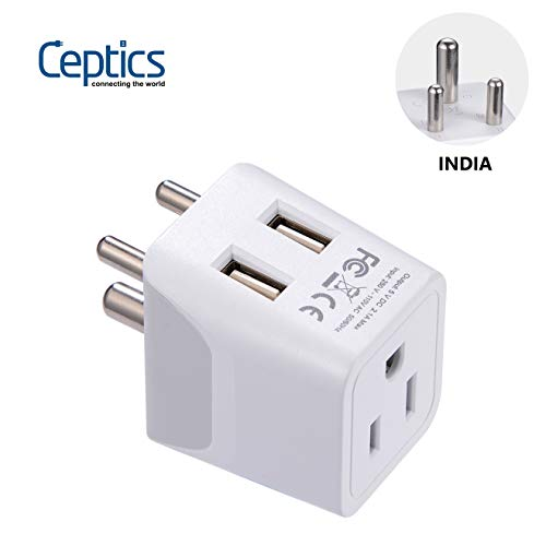 Ceptics India, Nepal, Bangladesh Travel Adapter Plug with Dual USB - Type D - Usa Input - Ultra Compact - Safe Grounded Perfect for Cell Phones, Laptops, Camera (CTU-10) ()