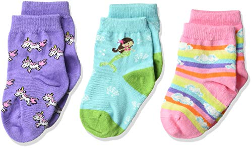 K. Bell Baby Girls Super Soft Novelty Crew Socks (3 Pair), Teal/Purple/pink (mermaid), 12-24 Months (Wholesale Baby Socks)