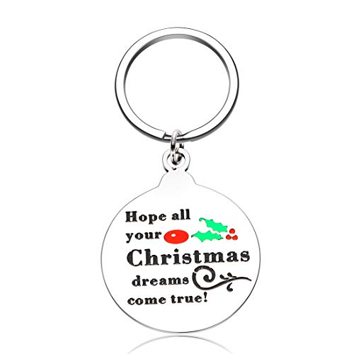 Funny Christmas Keychain Gifts for Women Men Teen Girls Boys Friends Inspirational Birthday Thanksgiving New Year Mom Dad Coworker Wife Kids Unique Christmas Keyring Gifts for Son Daughter