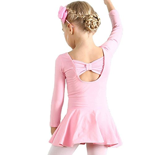 Rainlover Girl's Classic Long Sleeve Gymnastics Dance Leotard Back Bowknot Dress (5-6 Years, Pink)