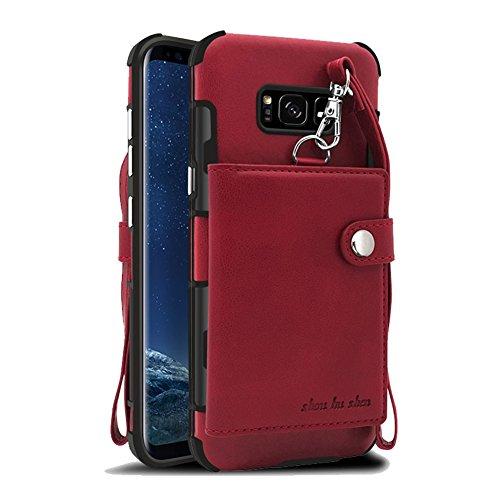 Funda Samsung Galaxy S8 Carcasa, Sunroyal 2 en 1 Magnética Cremallera Wallet Luxury Vintage Suave [Función de soporte] [Shock-Absorption] Soporte del Inteligente Coche Ranuras para Tarjetas y Billetes Rosa roja