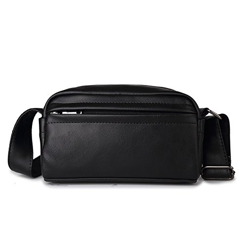 Mefly Hombre De Moda Casual Pu Mini Bolsa Multifuncional De Cuero Negro black