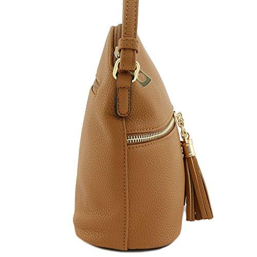 Pocket Cognac Crossbody Bag Zipper Tassel 0xzHBq