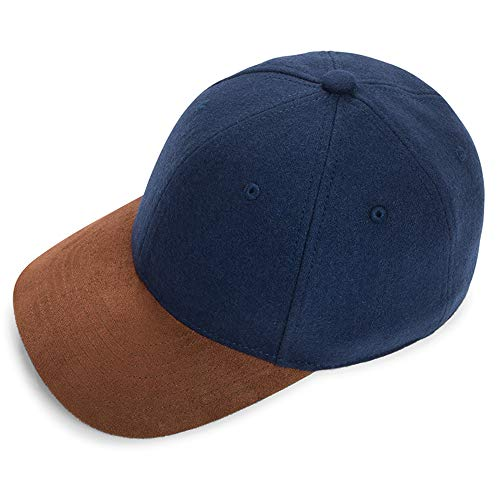 Baseball Snapback Cap Hat Fitted Wool Suede Structured Super Classic for Men Women Ideally Designed for Luxury and Elegance (58cm, X-Large, Navy & Coffee)