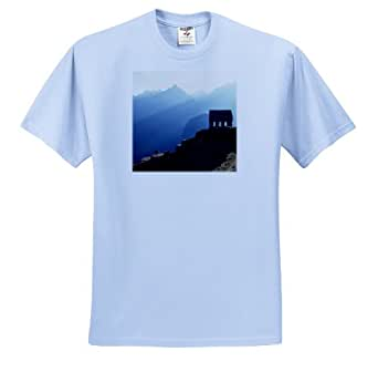 3dRose Danita Delimont - Machu Picchu - Peru, Machu Picchu, The Hut of the Caretaker - SA17 RER0031 - Ric Ergenbright - T-Shirts - Youth Light-Blue-T-Shirt Large(14-16)