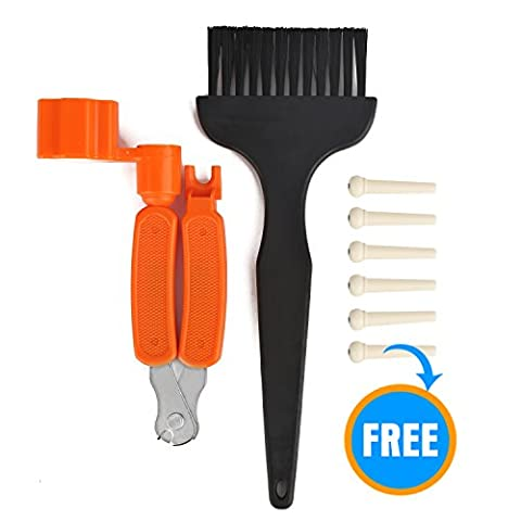 Guitar String Winder,SIDECAR 3 in 1 Guitar String Winder,Including Multifunction Guitar String Winder Cutter Bridge Pins Puller and Guitar Cleaning Brush,Free Bonus 6pcs Bridge Pins (Acoustic Guitar Peg Winder)
