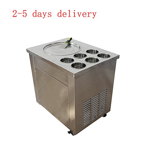 Zorvo Commercial Fried Ice Cream Machine,1 pan 6 boxes Ice Crean Roll Making Machine with three buttons,one scrapper(110V)