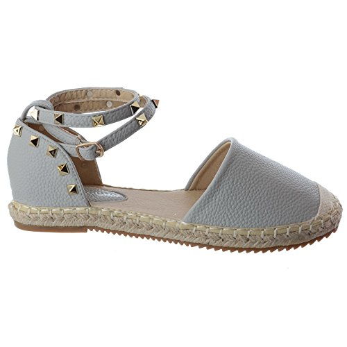 Damen flach Knöchelriemen Rock Stecker Sommer Espadrille Sandalen Schuhe Größe grau Kunstleder / Rock Stecker