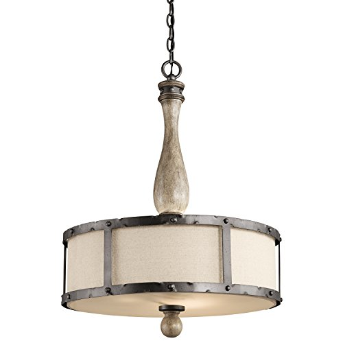 Kichler  43323DAG Evan 3-Light Pendant, Distressed Antique Gray Finish