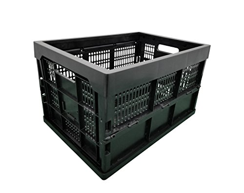 DELIGHT 52 Liter Collapsible Heavy Duty Storage Bin/Container, Grated Wall Utility Basket Tote, Black