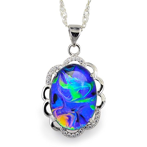 Fun Jewels Swirl Color Change Oval Crystal Stone Brass Flower Pendant Mood Necklace 18